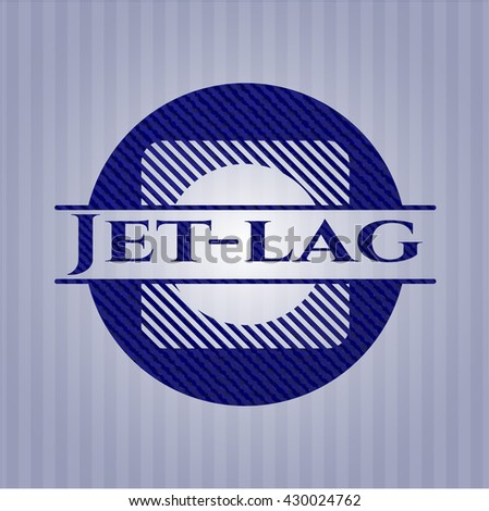Jet-lag badge with jean texture