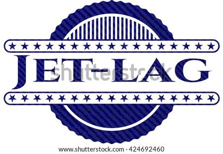Jet-lag emblem with denim texture