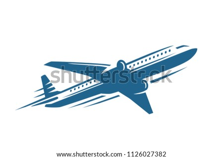 Jet Plane Icon blue on white background