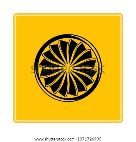 jet turbine, wind blade icon in yellow background