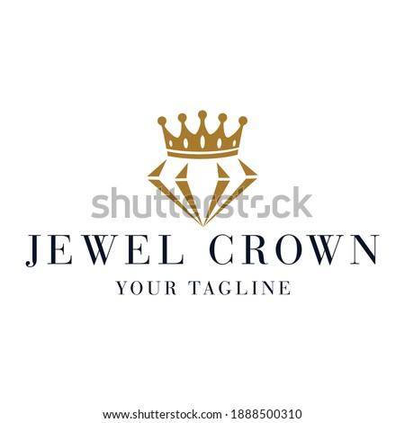 Jewel Crown Logo Design Vector Foto stock ©
