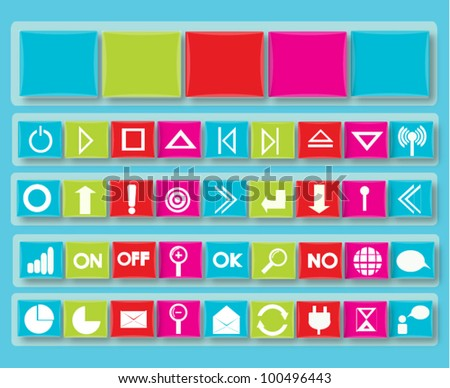 Jewel Icons Set for web buttons, Internet & Website icons, universal icons Vector - stock vector