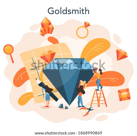 Jeweler and jewelry concept. Idea of creative people and profession. Jeweler examining faceted diamond in workplace. Person working with precious stones. Vector illustration