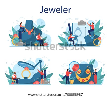 Jeweler and jewelry concept illustration. Idea of creative people and profession. Jeweler examining faceted diamond in workplace. Person working with precious stones. Vector illustration