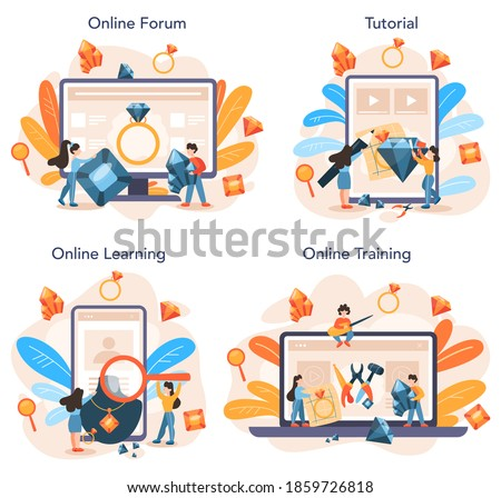 Jeweler and jewelry online service or platform set. Idea of creative people and profession. Jeweler examining faceted diamond. Online forum, tutorial, learning, training. Vector illustration