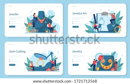Jeweler and jewelry web banner or landing page set. Idea of creative people and profession. Jeweler examining faceted diamond in workplace. Person working with precious stones. Vector illustration