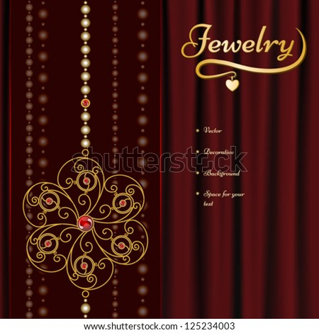 Jewelry background, gold jewel flower on red drapery. EPS10 vector format