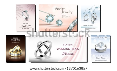 Jewelry Creative Promotional Posters Set Vector. Fashion Jewelry Golden And Silver Rings And Gemstones, Diamond And Brilliants On Advertising Banners. Style Concept Template Illustrations