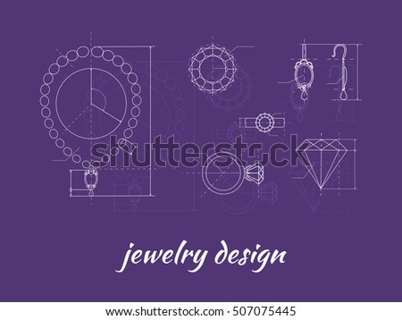 Jewelry design banner. Ring, earring and necklace graphic scheme. Diamond shape. Blueprint outline jewelry. Craft jewelry making. A handmade jeweler process, manufacture of jewelery