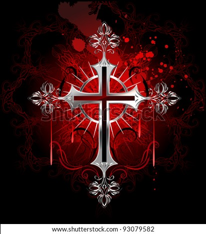 jewelry, gothic silver cross on a black background decorated with a pattern by copyright and stained with paint.