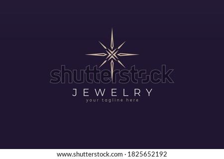 Jewelry Logo, jewel luster logo inspiration, flat design logo template, vector illustration Stockfoto ©