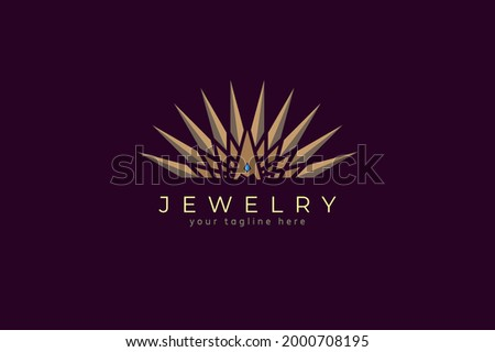 Jewelry Logo, letter A crown and jewel luster combination, flat design logo template, vector illustration Stockfoto ©