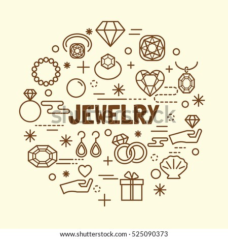 jewelry minimal thin line icons set, vector illustration design elements