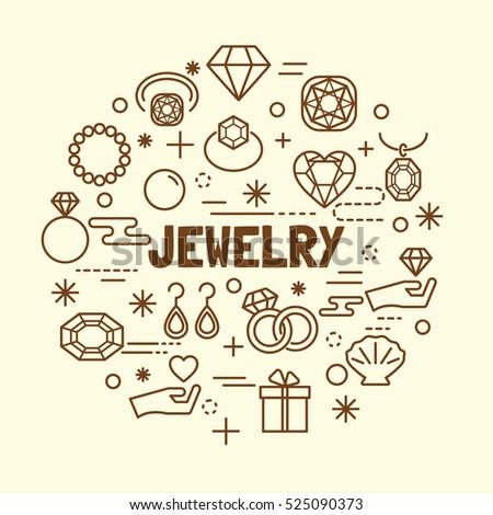 jewelry minimal thin line icons set, vector illustration design elements
