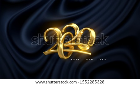 Jewelry numbers 2020. Holiday vector illustration. Golden metallic characters. Modern 3d calligraphy on black wavy silky fabric. Happy New 2020 Year. Festive banner or sign design. Abstract background