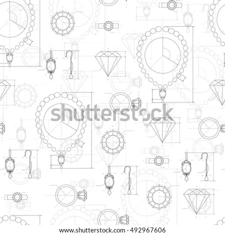 Jewelry production sketch seamless pattern. Hand drawn sketch of ring, necklace, earrings, precious stone. Draft outline of diamond units collection. Project of brilliant elements. Vector
