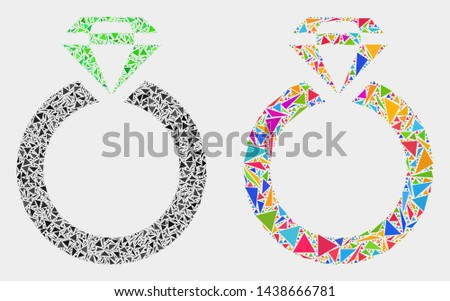e31c83d5 Jewelry ring collage icon of triangle elements which have variable sizes  and shapes and colors.