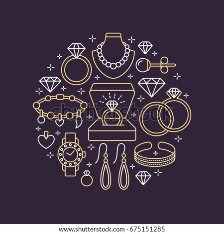 Jewelry shop, diamond accessories banner illustration. Vector line icon of jewels - gold watches, engagement rings, gem earrings, silver necklaces, charms, brilliants. Fashion store circle template. Photo stock ©