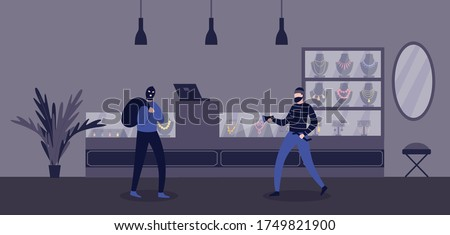 Jewelry store robbery criminal scene with burglars men cartoon characters, flat vector illustration. Bandits or thefts robbing a shop of gold and jewelry. Zdjęcia stock ©