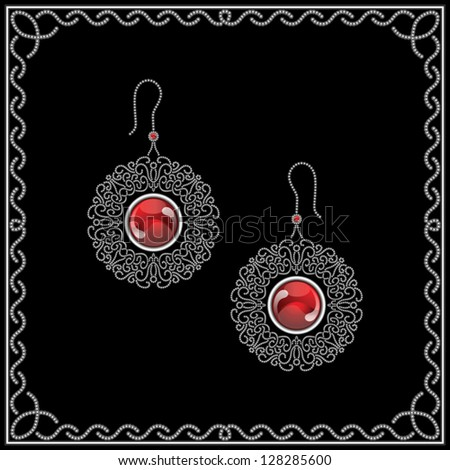 Jewelry vector earrings isolated on black, filigree vintage jewels with red gems