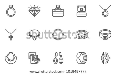 Jewelry Vector Flat Line Icons Set. Contains Ring, Necklace, Bracelet, Diamond and more. Editable Stroke. 48x48 Pixel Perfect.