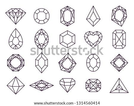 Jewels diamond icons. Diamonds gems, luxury jewel gemstones and precious gem. Crystal gemstone, jeweler gems precious or jeweller brilliant treasure. Isolated vector line icon set