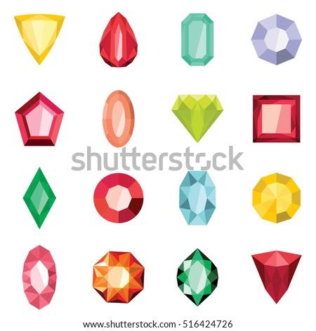 jewels set in cartoon flat