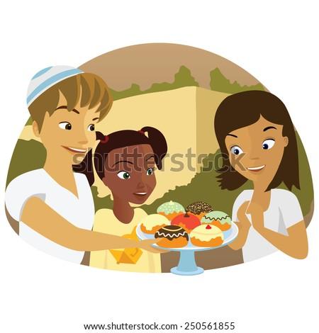 Jewish children eating Doughnut on Hanukkah.