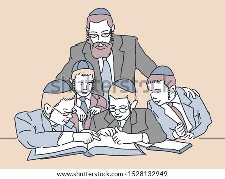 Jewish children study. Vector illustration Foto stock ©