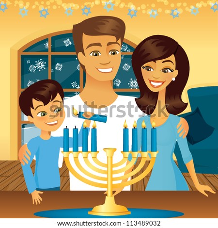 Jewish family celebrating the holiday Hanukkah