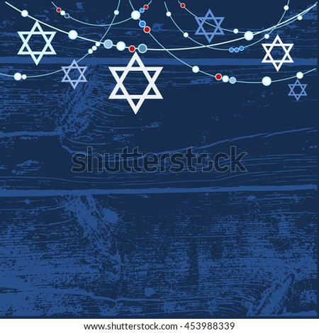jewish holiday greeting card background with jewish stars, vector, Greeting card