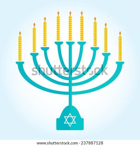jewish holiday Hanukkah background with menorah Burning candles isolated on white