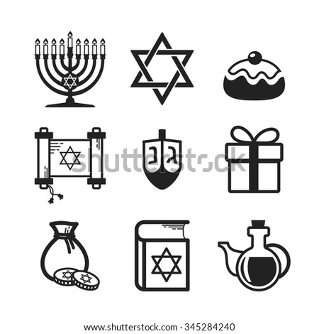 Jewish Holiday Hanukkah icons set, black and white linear elements