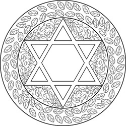 Jewish mandala of six pointed star decorated with floral motifs surrounded with leaves circle frame Black on transparent. Use for Jewish holidays decoration, travel blogs, web site template, coloring