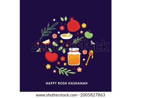 Jewish new year, rosh hashanah, greeting card with traditional icons. Happy New Year. Apple, honey, pomegranate, flowers and leaves, Jewish New Year symbols and icons. Vector illustration Foto stock ©