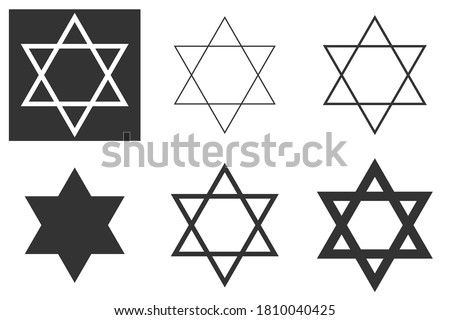Jewish Star of David Six-pointed star in black with vector icon isolated on white background. Shield of David, or Star of David, or Seal of Solomon, Hebrew hexagram. A traditional Jewish sign and one  Photo stock ©