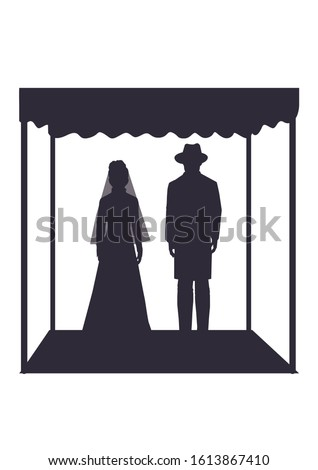Jewish wedding ceremony. Vector illustration, silhouette of an ultra-Orthodox groom and Jewish bride under the canopy Foto stock ©