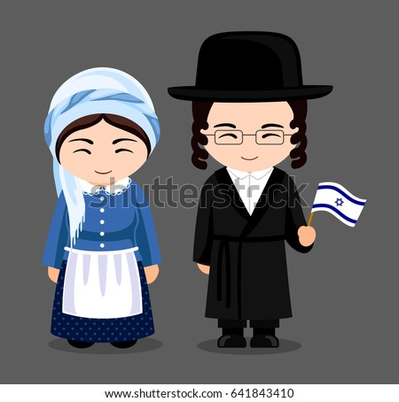 jews in national dress with a
