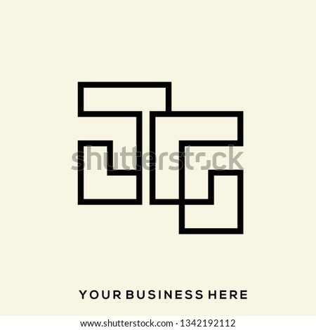 JG geometric monogram.Stylized lettering logo in abstract, modern, architectural style.Typographic icon with letter j and letter g isolated on light background.Uppercase initials sign.