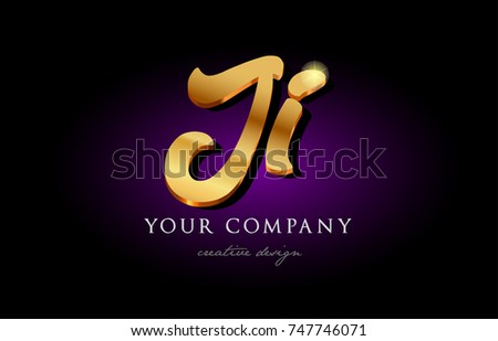 Ji J I Alphabet Combination Letter Logo In Gold Golden 3d Metal Beautiful Typography Suitable For Banner