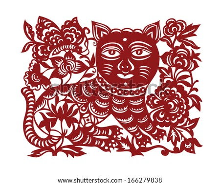 jianzhi ornamental red cat with