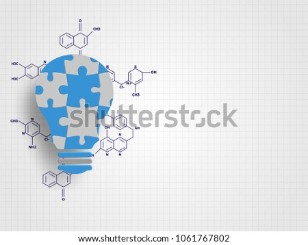 Jigsaw in the lightbulb shape with chemistry formula represent new idea and innovation concept. Technology Background. Vector illustration.