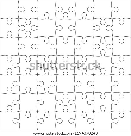 Jigsaw puzzle blank template or cutting guidelines of 49 pieces. Vector  illustration.