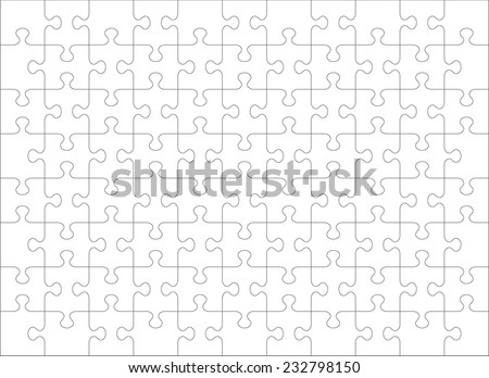 Jigsaw puzzle blank template or cutting guidelines of 88 transparent pieces, landscape orientation. Pieces are easy to separate (every piece is a single shape).