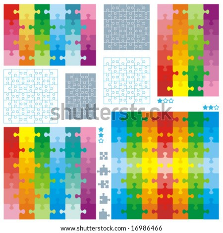 Jigsaw puzzle blank templates and colorful patterns for most popular 6x4 and 4x6 rectangle cuts, 7x7 and 6x6 square cuts. Accurate guidelines, classic shapes of pieces. JPEG or TIFF - image 16987150  - stock vector