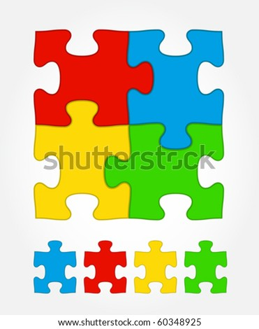 Jigsaw puzzle colored