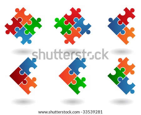 Jigsaw puzzle icons isolated on a white background