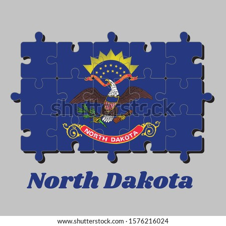 Jigsaw puzzle of North Dakota flag. Flag of the unit by state troops in the Philippine-American War. The states of America, Concept of Fulfillment or perfection.