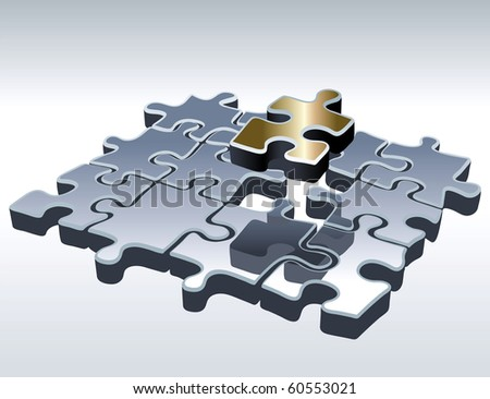 Jigsaw Puzzle Set. One Outstanding Part. Vector Illustration
