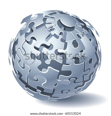 Jigsaw Puzzle Sphere. Dynamic Explosion. Vector illustration